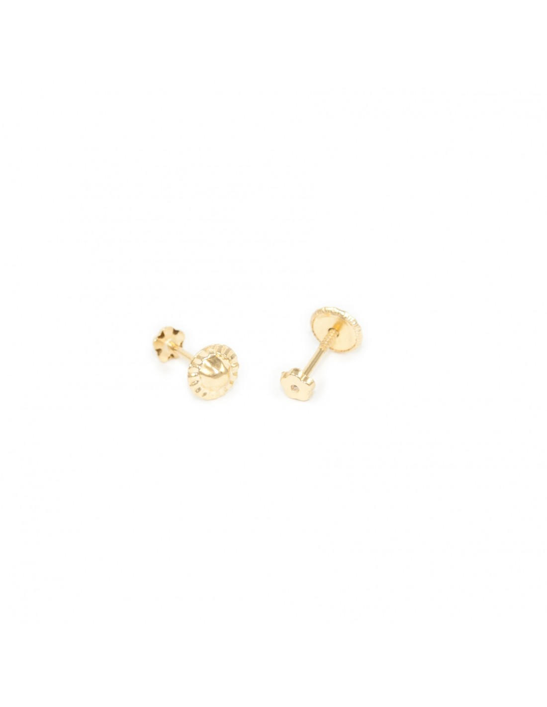 boucles d 39 oreilles enfant fleur 3 mm or jaune 9 carats. Black Bedroom Furniture Sets. Home Design Ideas