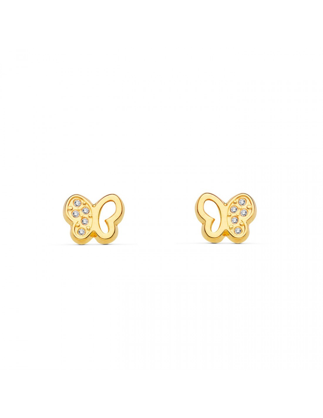 boucles d 39 oreilles enfant papillon or jaune 9 carats. Black Bedroom Furniture Sets. Home Design Ideas
