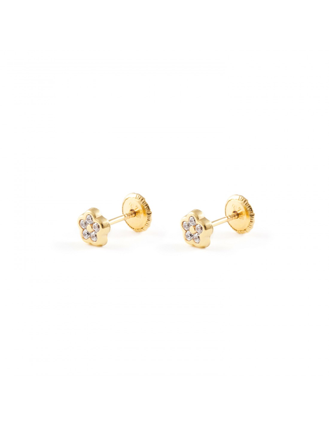 boucles d 39 oreilles enfant fleur avec zircon or jaune 9 carats. Black Bedroom Furniture Sets. Home Design Ideas