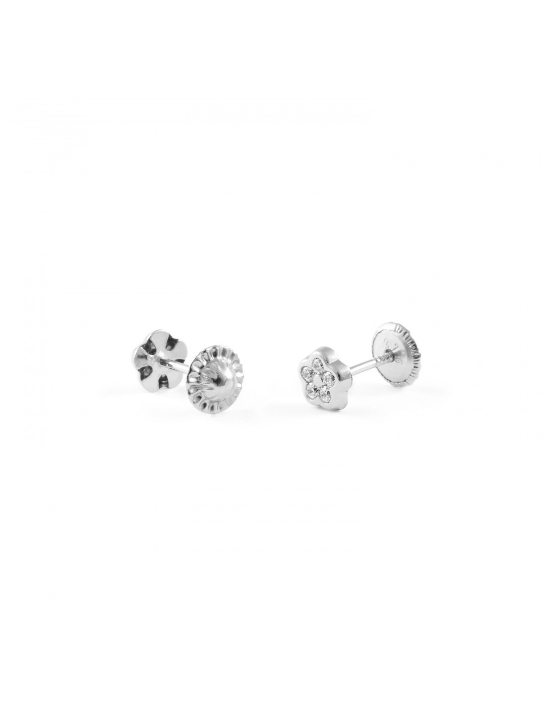 boucles d 39 oreilles enfant fleur avec zircon or blanc 9 carats. Black Bedroom Furniture Sets. Home Design Ideas