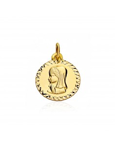 Médaille Vierge Or Jaune 9 Carats