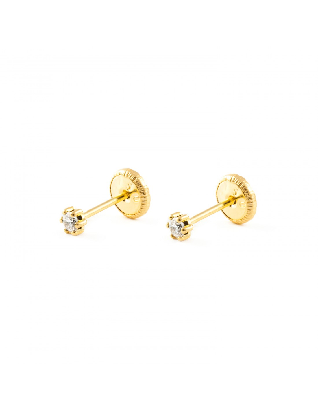 boucles d 39 oreilles enfant zircon or jaune 18 carats. Black Bedroom Furniture Sets. Home Design Ideas