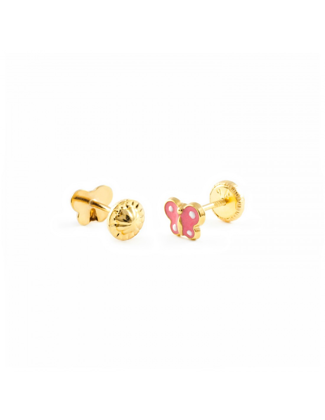 boucles d 39 oreilles enfant papillon mail rose or jaune 9 carats. Black Bedroom Furniture Sets. Home Design Ideas