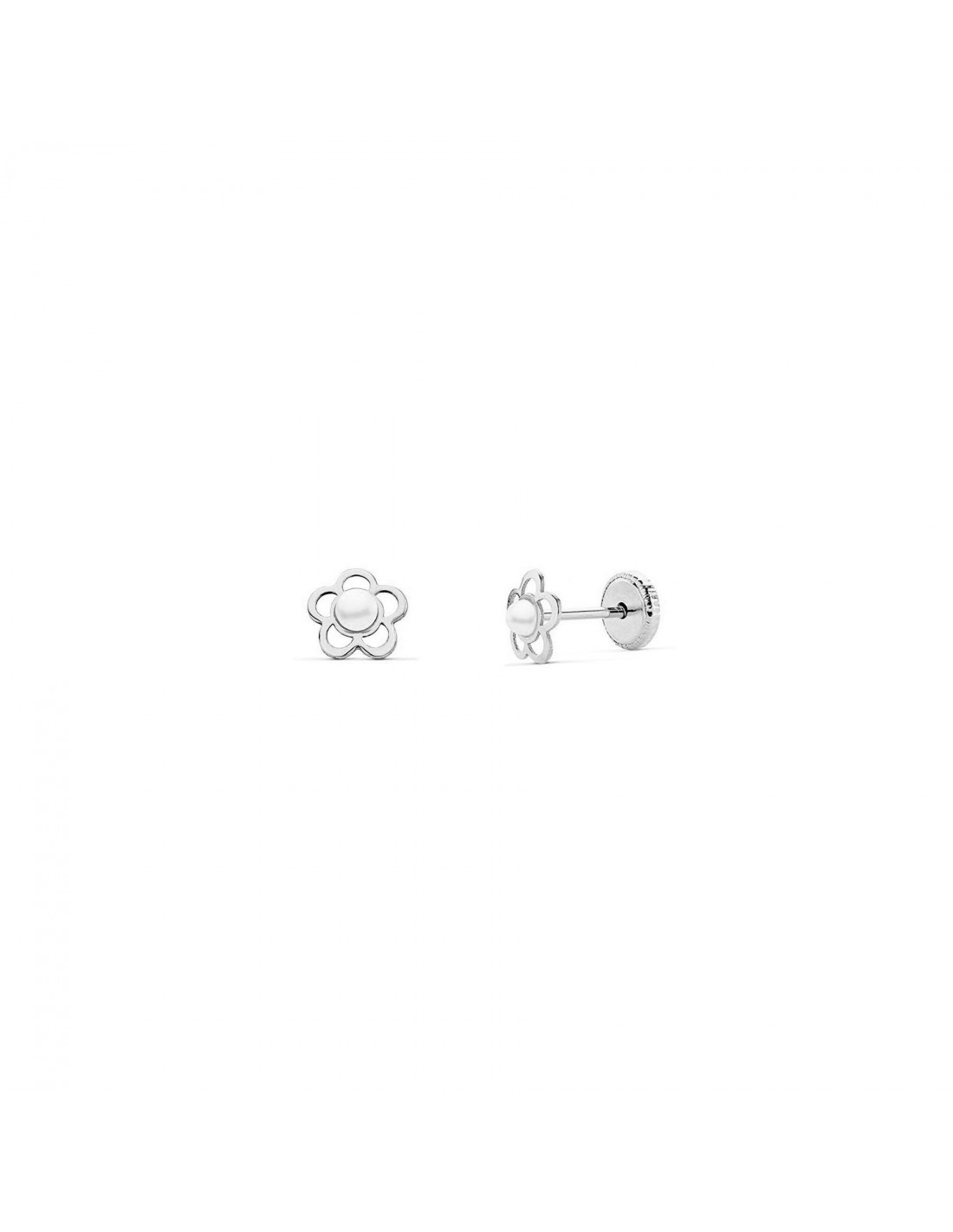 boucles d 39 oreilles enfant fleur avec perle or blanc 9 carats. Black Bedroom Furniture Sets. Home Design Ideas